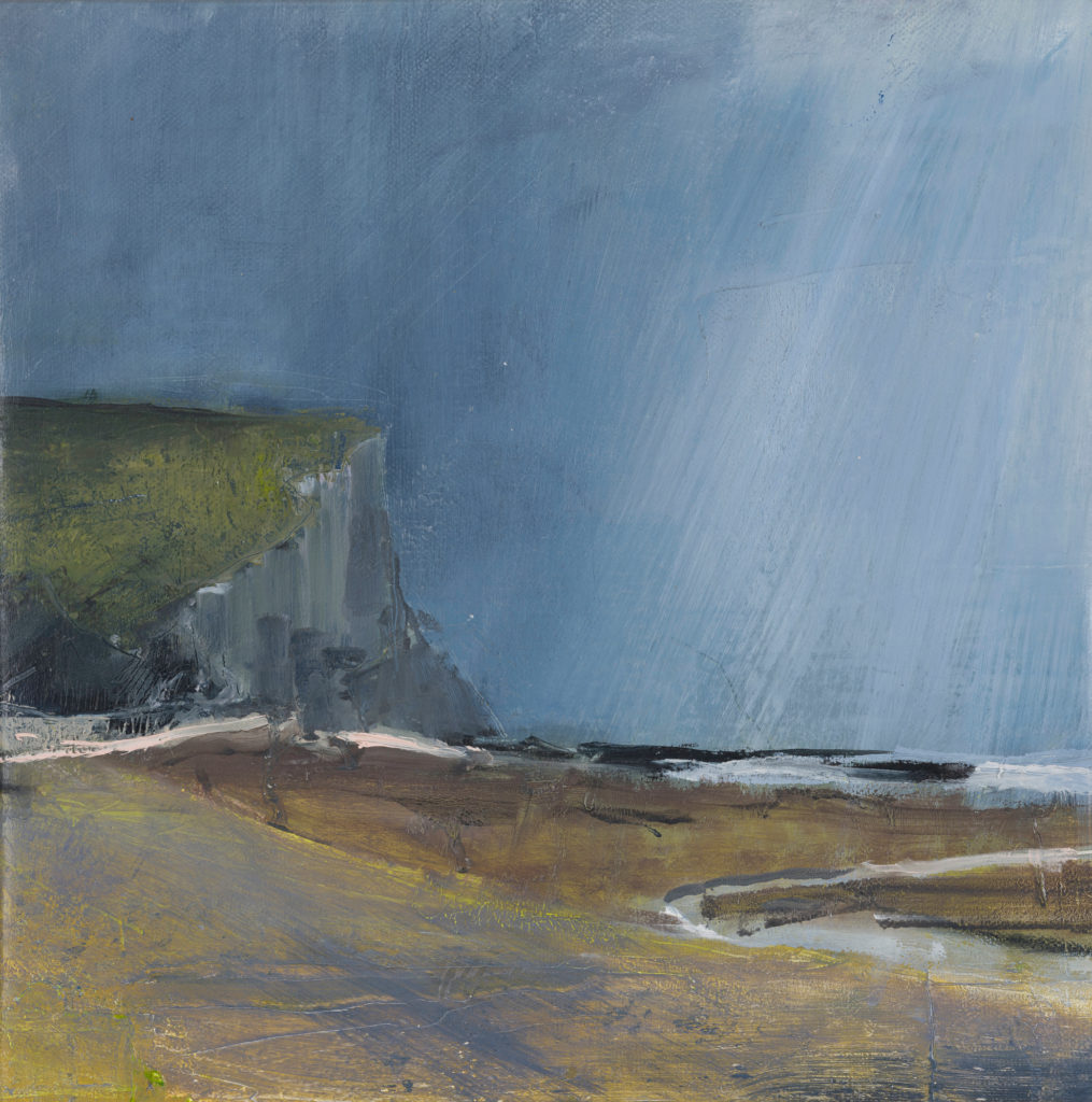 Cuckmere Haven 1, SOLD, £1100, Oil and charcoal on canvas, 30 x 30cm, framed size 44 x 44cm