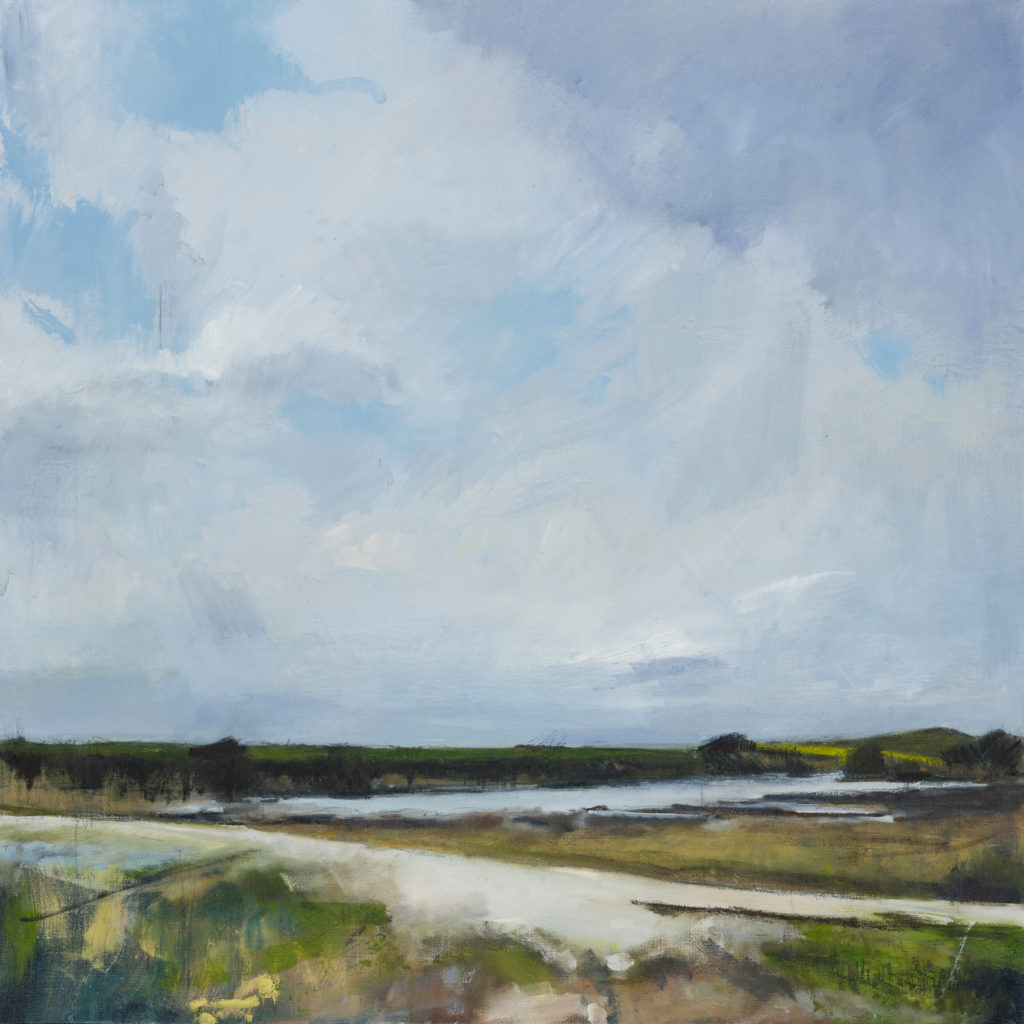 Across Cuckmere River, SOLD, Oil, graphite, charcoal and pastel on linen