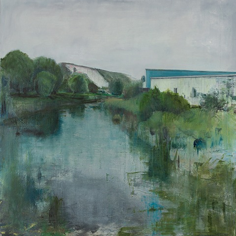 River Ouse, Lewes. £2000, SOLD, Oil, graphite, charcoal and pastel on canvas, 90 x 90cm
