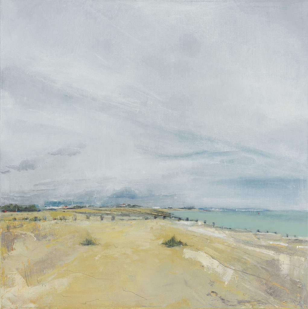 Eastbourne Beach, Oil, graphite, charcoal and pastel on linen, 60 x 60cm
