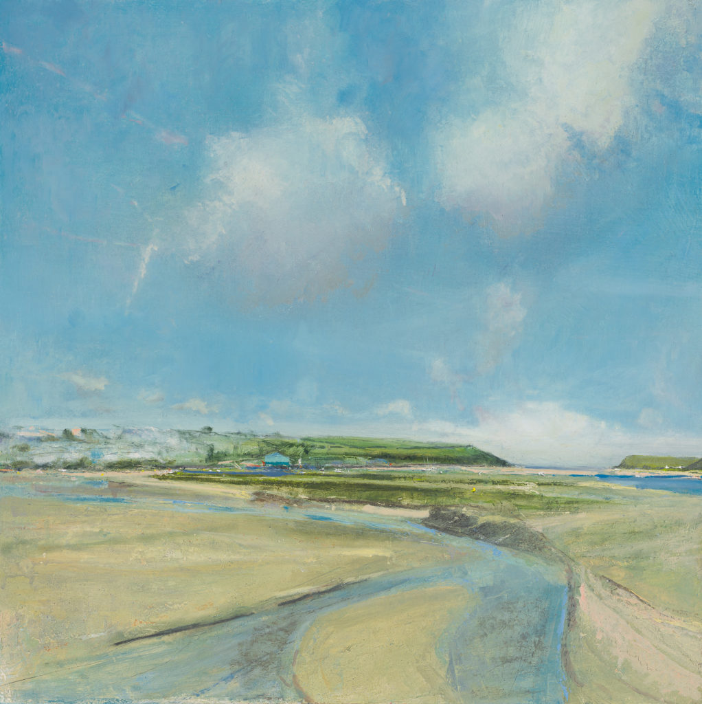 Camel Estuary, £1500, Oil, graphite, charcoal and pastel on board, 60 x 60cm.