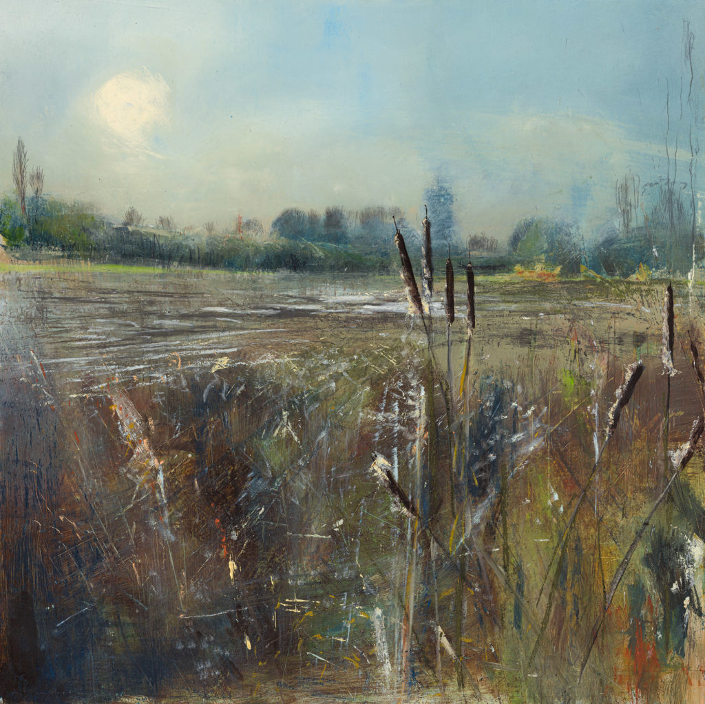 Towards Home, SOLD, £1500, Oil, graphite, charcoal and pastel on board, 60 x 60cm.