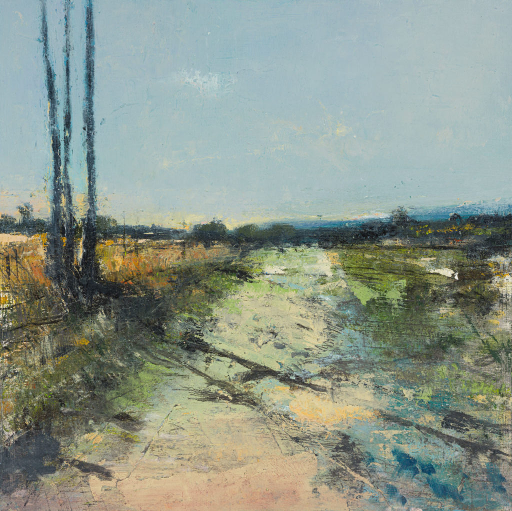 Ashdown Forest, SOLD, Oil, charcoal, graphite and pastel on board, 25.5 x 25.5 x 2cm