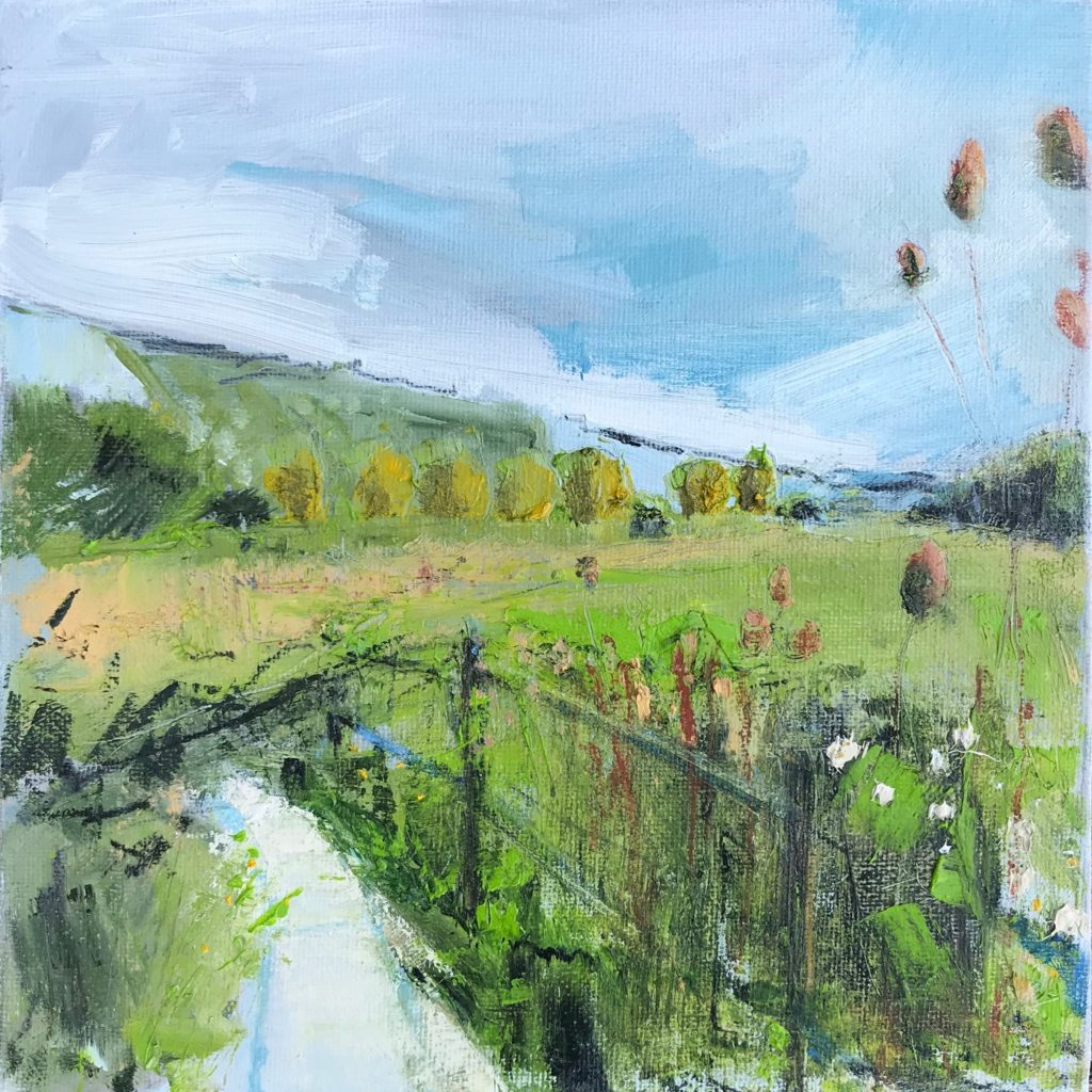 Lewes Railway Land, SOLD, Oil, graphite, charcoal and pastel on canvas, 198 x 198 x 137mm  Available as part of Artist Support Pledge