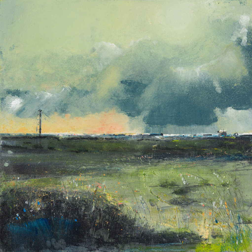 New Day, Dungeness 1, £1100, Oil, graphite, charcoal and pastel on canvas board, 40 x 40cm