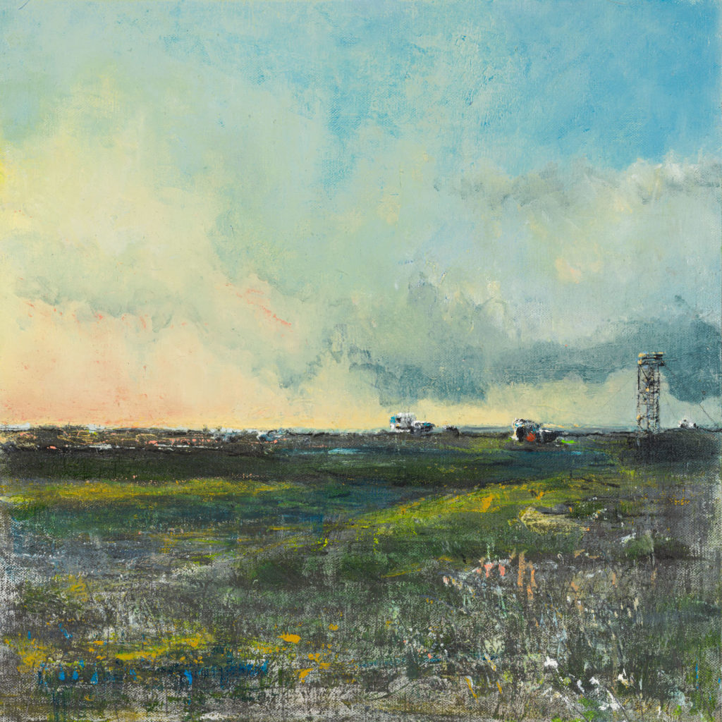 New Day, Dungeness 2, £1100, Oil, graphite, charcoal and pastel on canvas board, 40 x 40cm