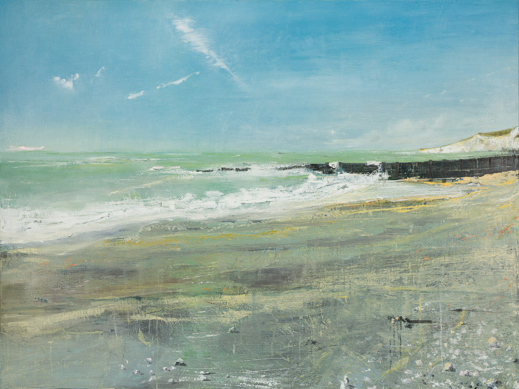 Holywell, Eastbourne, £4000, Oil, graphite, charcoal and pastel on canvas, 120 x 160cm