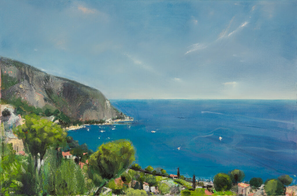 Chez Spilsbury, Eze sur Mer, SOLD, Oil, graphite, charcoal and pastel on canvas, 60 x 40cm.