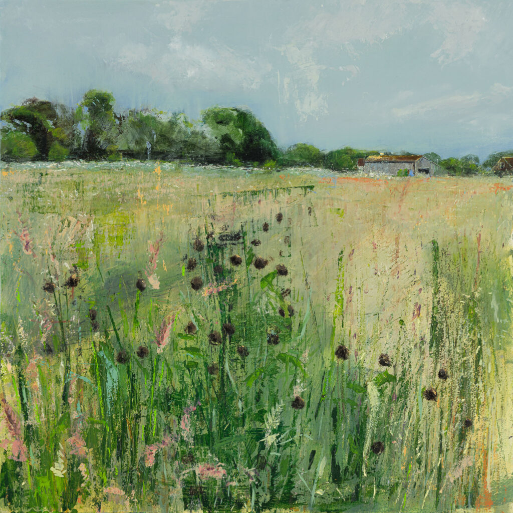 Amly Field, Hawthbush Farm, £1500, Oil, graphite, charcoal and pastel on board, 60 x 60cm.