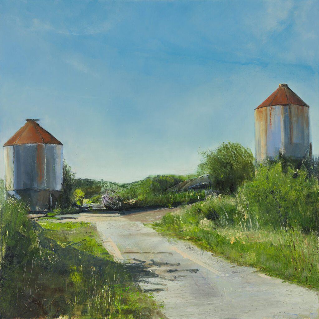 Silo 1, Chiddingly, £1500, Oil, graphite, charcoal and pastel on board, 60 x 60cm.