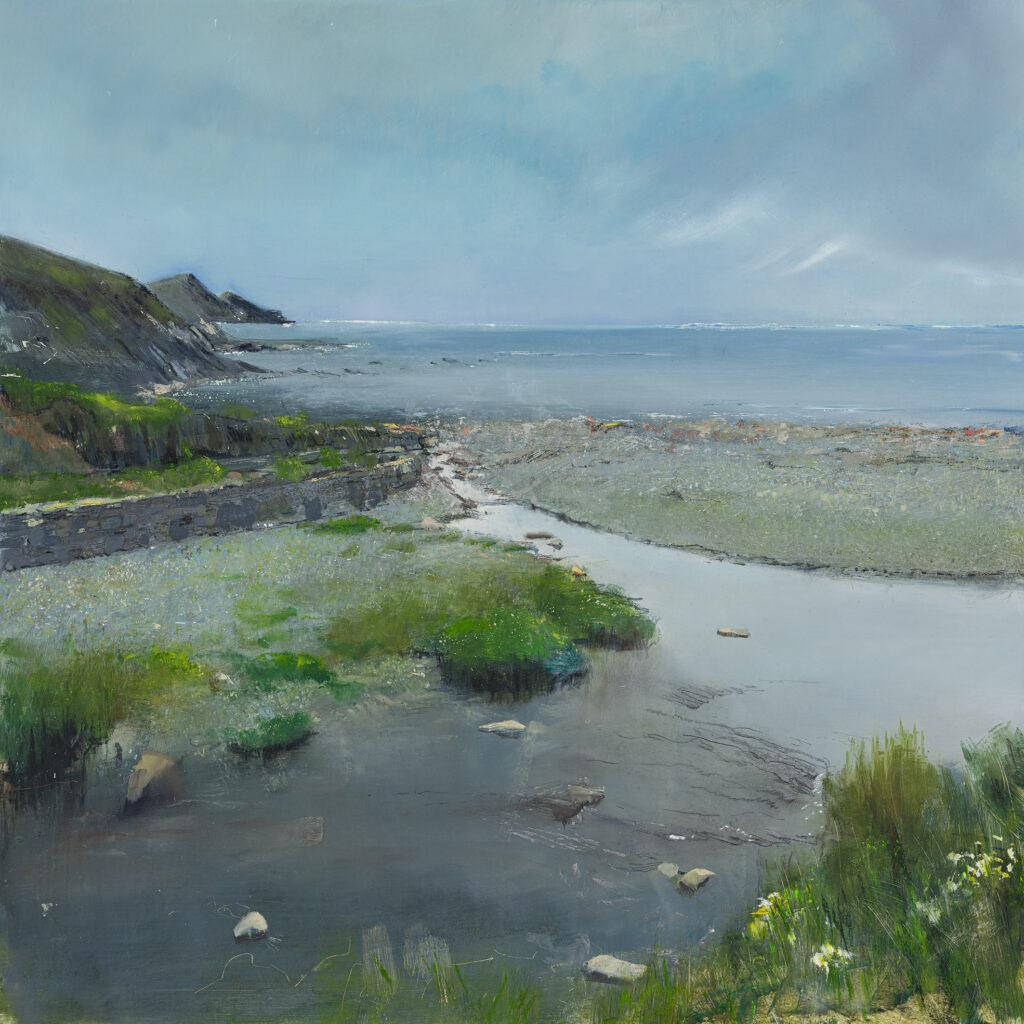 From The Wall, Crackington Haven, SOLD, Oil, graphite, charcoal and pastel on board, 61 x 61cm