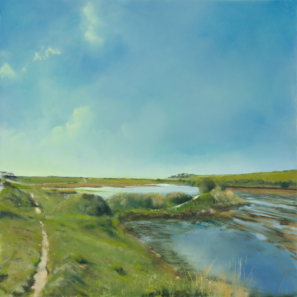 Coastguard Cottages 2, Cuckmere Haven, £1500, Oil, graphite, charcoal and pastel on board, 61 x 61cm