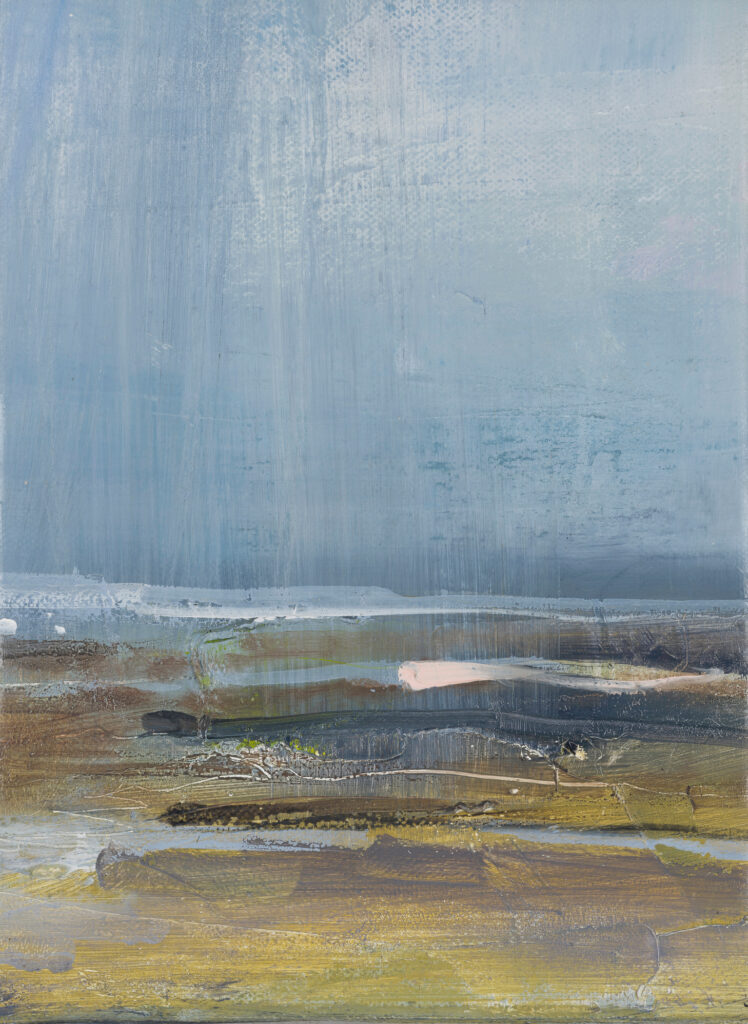 Cuckmere Haven 3, £750, Oil, graphite, charcoal and pastel on canvas, 18 x 24.5cm