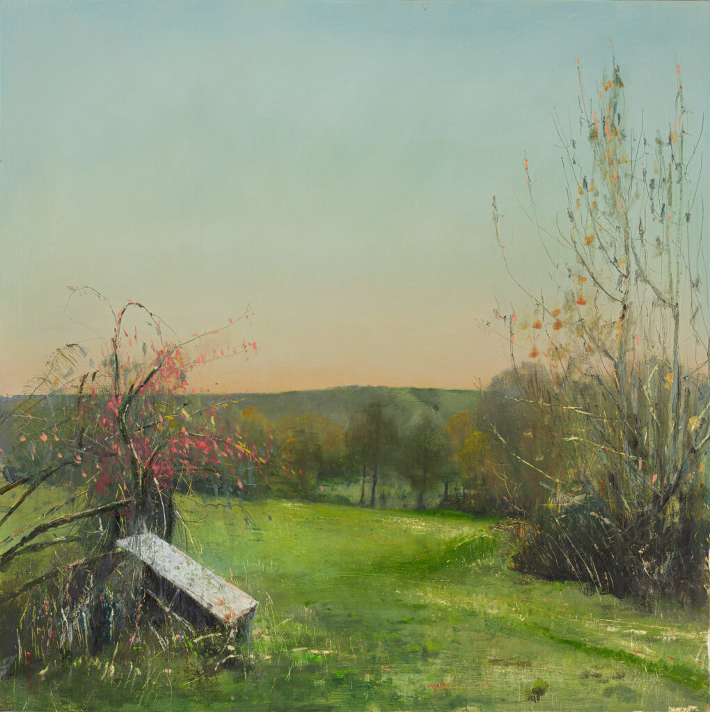 Fallbrook, SOLD, Oil, graphite, charcoal and pastel on board, 61 x 61cm