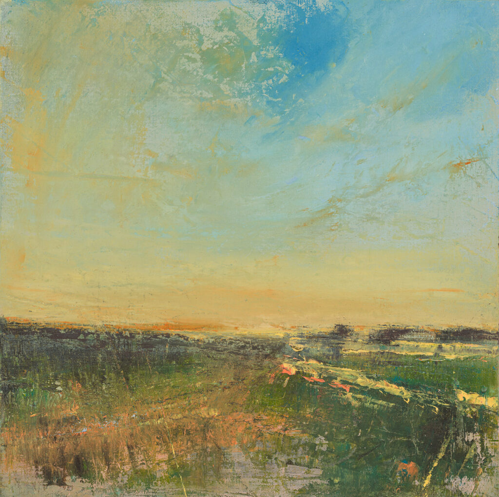 Low Sun, £950, Oil, graphite, charcoal and pastel on canvas board, 30 x 30cm